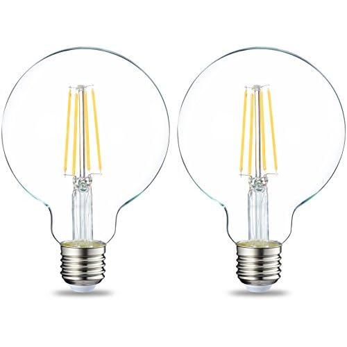 AmazonBasics Lampadina LED Globo E27 a filamento, 7W (equivalenti a 60W), Luce Bianca Calda, Pacco da 2