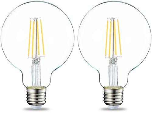 AmazonBasics E27 LED Lampe, Globe, 7W (ersetzt 60W), filament klar, 2er-Pack