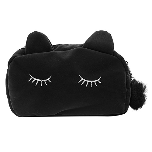 Pinzhi flanelle Cartoon Cat Storage Bag Stylet Crayon de maquillage pièce Carton Support (Noir)