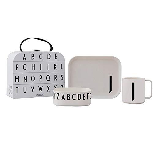 Design Letters Eat & Learn Tritan Suitcase Geschenkset für Baby und Kinder (Weiß) - J - BPA-frei, Enthält 3 Stück, 1 Teller, 1 tiefer Teller & 1 Tasse, Erhältlich von A-Z, Drop-safe, spülmaschinenfest