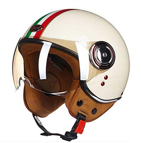 MetHlonsy Niederlande Retro Harley Style Motorradhelm Ritter Schutz ABS Motorradhelme Milky White redgreen M