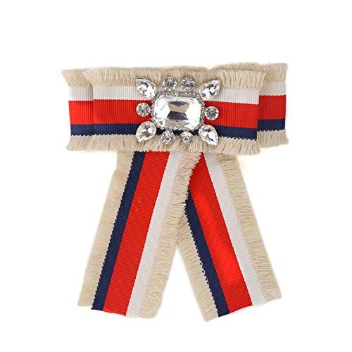 CCJIAC Klassische Tuchklammer Frauen Krawatte Mode Schöne Bowknot Charme Stoff Aussage Kristall Bogen Broschen Pins Schmuck Zubehör