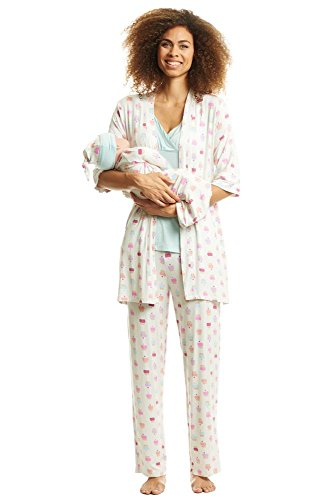 Everly Grey Women's 5 Piece Maternity and Nursing PJ Pant Set, Cupcakes Gown/Hat, Small