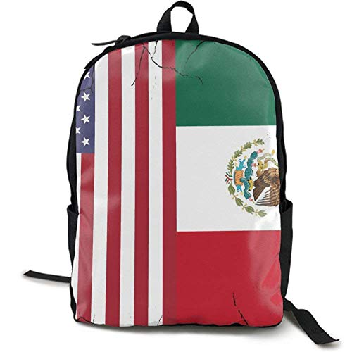 XCNGG Lightweight Durable Backpack Daypack for School Travel Hiking, USA Mexico Flag