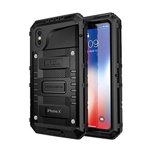 seacosmo iPhone X wasserdichte Hülle, Militärstandard Schutzhülle mit Eingebautem Displayschutz Haltbarkeit stoßfest Handyhülle für iPhone XS, Schwarz