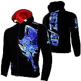 VSZAP Wolf Head Sudadera con capucha de manga larga UFC luchando chaqueta de combate MMA deportes Sanda entrenamiento fitness hombres azul-XL