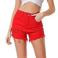 デニムショートパンツ 女性のストレッチデニムショートパンツ夏のスリムセクシーなハイウエストのホットパンツをリッピング ファッション (Color : Red, Size : S)