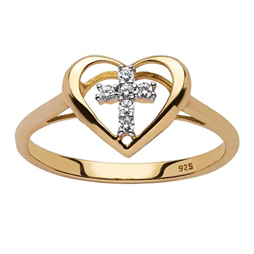 18K Yellow Gold over Sterling Silver Genuine Diamond Accent Cross Heart Ring Size 10