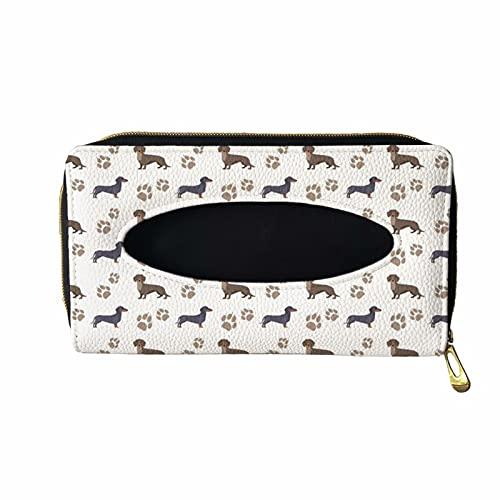 XYZCANDO Pet Dog Print Car Visor Tissue Holder, PU Leather Tissue Box Holder Dispenser, Universal Mask Holder, Wipes Case for Car Visor for Women Lady, Napkin Holder for Car Tissue, Dachshund Design