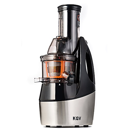 KGV Vertical Masticating Juicer Extractor, Slow Juicer Machine for Fruits and Vegetables with Quite Motor, Ice Cream Maker, Cold Press, Pulp Separators, Strainer and Warranty