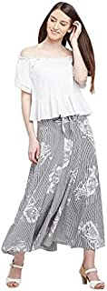 PANIT Women's Black and White Ankel Length Floral Strip Printed Flare Skirt