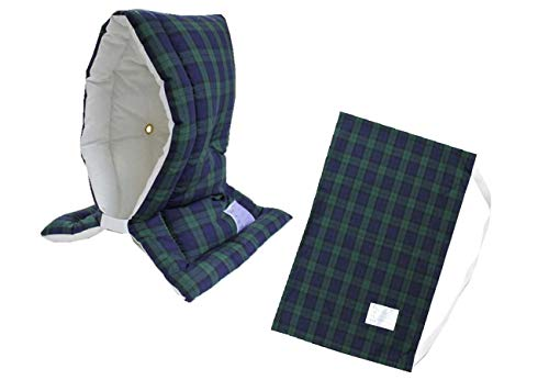 防災ずきん専用カバー付 日本製(小学生から大人まで)Lサイズ 防災クッション(約30×46cm) (タータンチェック(グリーン))