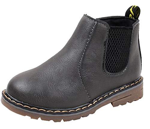 DADAWEN Boy's Girl's Waterproof Side Zipper Short Ankle Winter Snow Boots Gray US Size 8 M Toddler