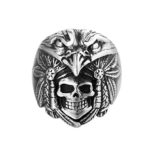 LH&BD Mens Stainless Steel Ring Gothic Casted Grim Reaper Skull Band Black Silver Colour Polished,8