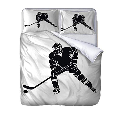Duvet covers king size Hockey player Printed Duvet Cover 220x260cm Quilt Bedding Set Super King-Size with 2 Pillowcases Soft Easy Care for Children adults woman