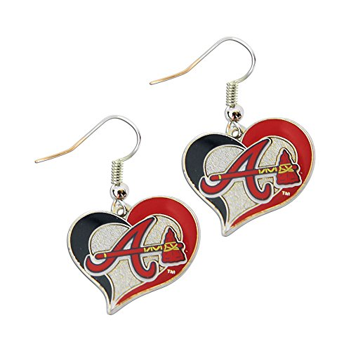 aminco MLB Atlanta Braves Team Logo Swirl Heart Earring Sports Fan Gift