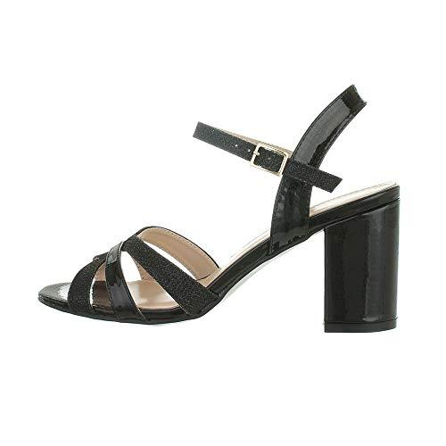 Ital-Design Damenschuhe Sandalen & Sandaletten High-Heel Sandaletten, WA172-, Kunstleder, Schwarz, Gr. 38