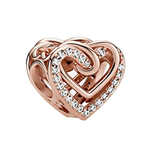 Heart Bead Sterling Silver Glod Rose for Pandora Bead Charm Mum Sister Daughter Wife Fit Bracelets Necklace