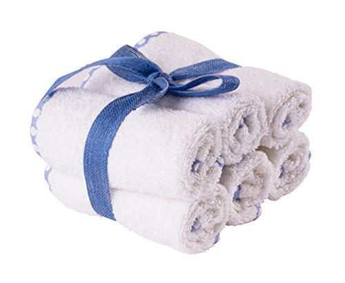 Lot de 6 serviettes de bain pour bébé et enfant, pour bain, crèche, bavoir – poids éponge GSM 500 (30 x 30 cm, 6 pièces, blanc avec bord bleu à pois)