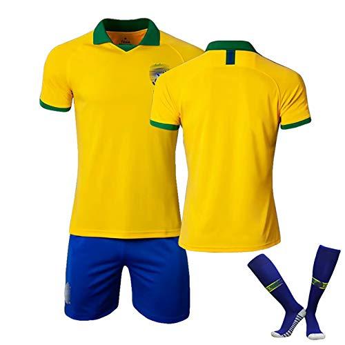 ZYWCXM Herren Kinder Fußballtrikot 1920 Brasilien Jesus Marcelo Paulinho Trikot, schnell trocknende Fußballuniform, Polyester Mesh, kann wiederholt gewaschen werden
