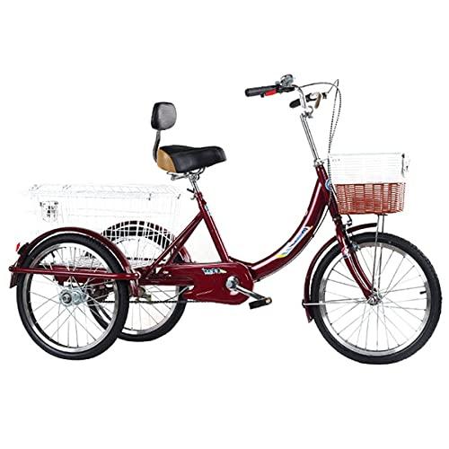 FGVDJ Pedal Triciclos para Adultos Pedal de Bicicleta con Guardabarros de 3 Ruedas con Cesta de la Compra para IR de Compras y Llevar suficientes Cosas