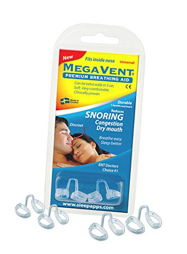 Megavent v 2.0 - New Swedish Nasal Breathing & Snoring Aid. CE reg. Clinically proven. Endorsed by ENT doctors. Can also be shaped individually. Snoring Relief for Comfortable Sleeping.
