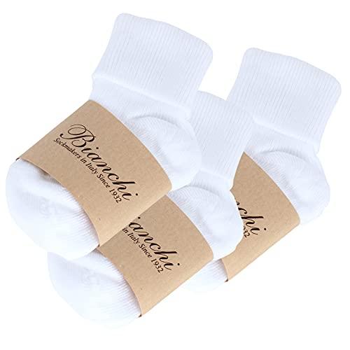 BIANCHI SOCKMAKERS IN ITALY - SINCE 1932 - Calcetines de doble solapa acanalada de color liso, 3 pares, para bebé. Color blanco. 12- 24 Meses