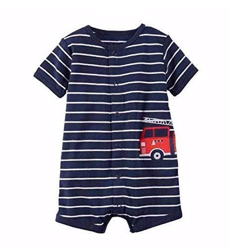 MRULIC Baby Strampler Mädchen und Jungen Einteilige Cartoon Gestreiften Bodysuit Kurzarm Overall Sommer Jumpsuit(Blau,9-12 Monate)
