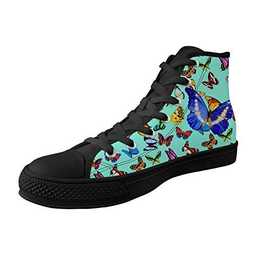 MODEGA Impresión De La Mariposa Zapatos Superiores Altos para Los Zapatos del...