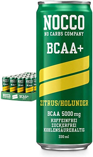 NOCCO BCAA Energy Drink - Bebida sin azúcar, vegana, con vitaminas y aminoácidos, limón/saúco, 24 x 330 ml, incluye depósito
