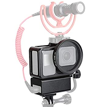 Compatible Gopro mic Adapter-Aluminium Housing Case Protective Frame V2 Multifunctional Vlogging Case Compatible Gopro Hero 6 5 7 Black Action Camera