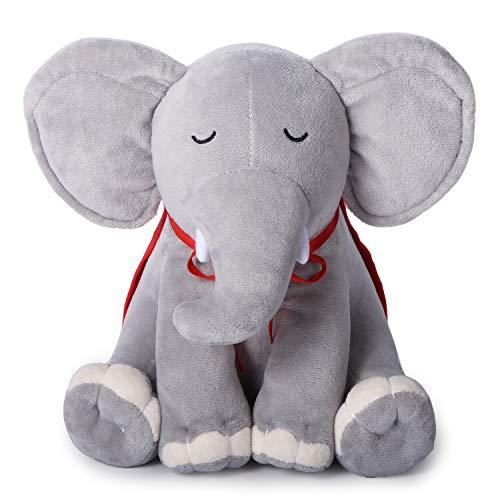 Carillon neonati/peluche neonati per la nanna, Momcozy Peluche elefante rumore bianco con 11 ninne-nanne calmanti e 4 rumori bianchi e proiettore stelle, carillon culla come regalo neonata perfetto