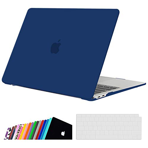 iNeseon MacBook Air 13-inch Case Cover A2337(M1)/ A2179/ A1932, Slim Hard Shell Protection Case + Keyboard Cover for 2020 2019 2018 MacBook Air 13 with Touch ID, Navy Blue