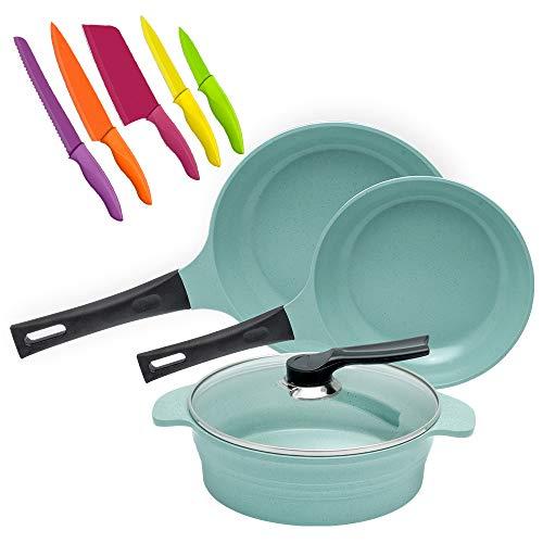 Paquete Batería de cocina Jade Cook + Set de cuchillos de cocina. Sartenes ANTIADHERENTES. La comida NO SE PEGA. Cocina RÁPIDO, FÁCIL y SIN GRASA. CV Directo.