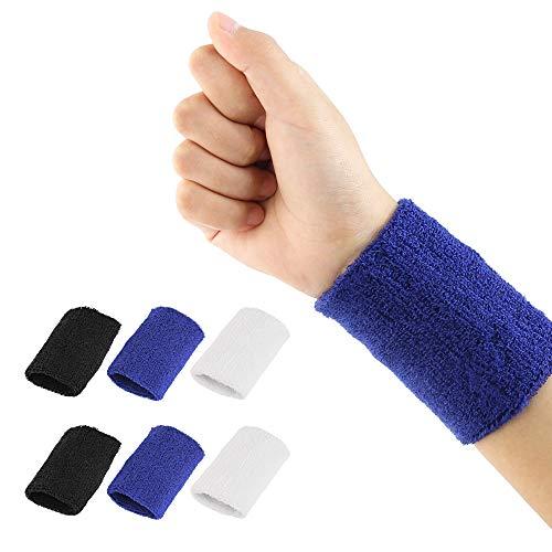 BUZIFU 6 Pezzi Polsino di Sport Fasce da Polso Cotone Polsino per Uomini e Donne, Polsini di Sport Wristband Sportive Elastiche Cotone per Correre Ten