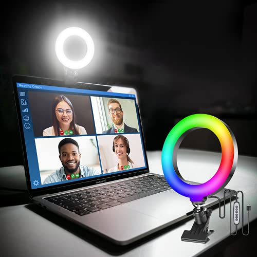 """Ulanzi Video Conference Lighting Kit, 6.3"""" Selfie RGB Ring Light for Computer Laptop Clip On, Monitor Webcam Video Conferencing Light for Remote Working,Zoom Call,Self Broadcasting,Live Streaming"""