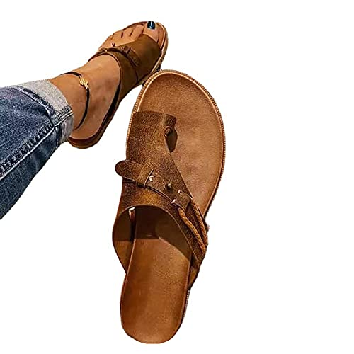 TOWELL Women s Orthopedic Correction Leather Ring Toe Casual Bunion Slippers Summer Casual Beach Sandals Flat Heel Flip Flops (Brown,8)
