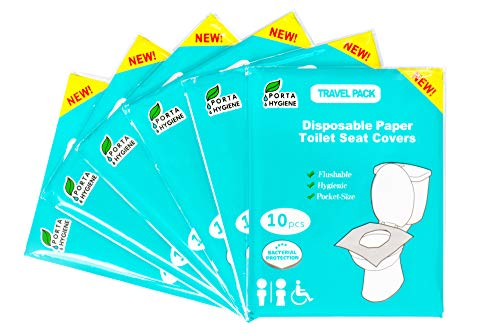 Toilet Seat Covers Disposable - 6 Pack of 60 Soft Flushable Protective Paper Liners for Adults and Kids - Portable On-the-Go Bathroom Hygiene - Great for Travel, Airplane Restrooms, Potty Training