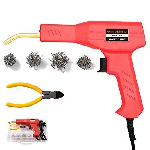 Hot Stapler Plastic Welder, Saldatrice di Plastica Calda da 50W Kit Riparazione Paraurti per Auto con 200 Pezzi di Graffette, Saldatore Pistola Riparazione Kit (Rosso)