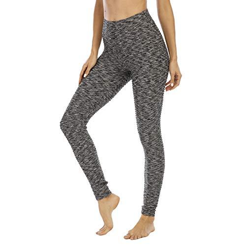 MoneRffi Damen Sport Leggings Anti-Cellulite Yogahose Push Up Yoga Pants Slim Fit Hohe Taille Sportleggins Figurformende Sporthose Fitnesshose Yogahosen für Damen(A-schwarz Weiß?L)