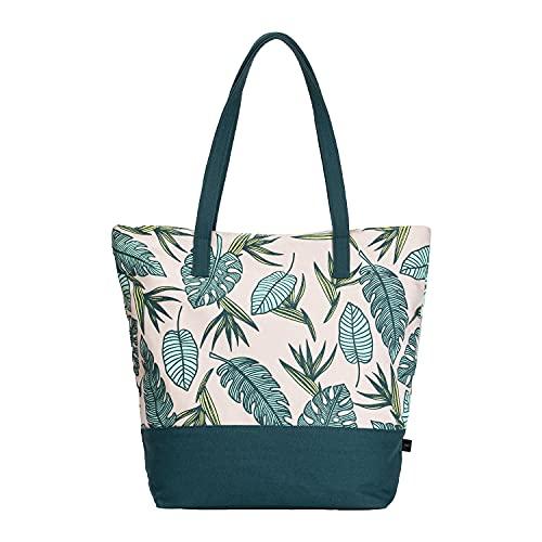 Eco Right Groß Strandtasche mit Reißverschluss, Klassische Canvas Tasche Damen, Shopper Schultertasche für Strand, Picknick, Reisetasche für täglichen Gebrauch und arbeitstasche