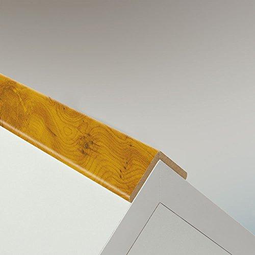 Preisvergleich Produktbild Winkelleiste Schutzwinkel Winkelprofil Tapeten-Eckleiste Abschlussleiste Abdeckleiste aus MDF in Gold Eibe Superglanz 2600 x 32 x 32 mm