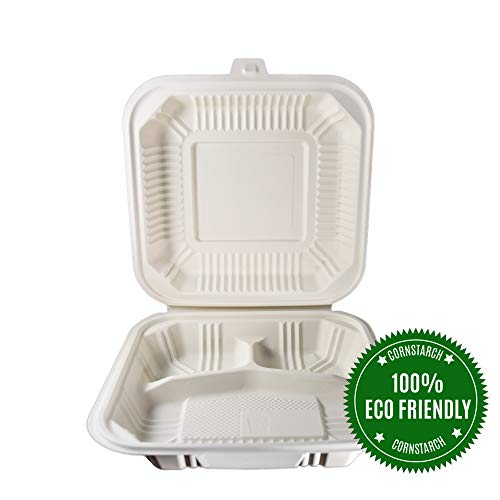 HeloGreen [100 Count]  Eco Friendly To Go Containers (8' x 8', 3-Compartment) - Non Soggy, Leak Proof, Disposable To Go Boxes Made From Cornstarch - Microwave Safe and Ideal for Take Out Food Containers, Leftovers, Lunches