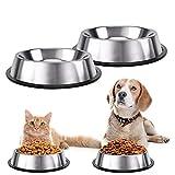 INHEMING Comedero para Perro Gato y Mascotas de Acero Inoxidable , 2 Cuencos Comedero para Comida y Agua,con Base de Silicona Antideslizante