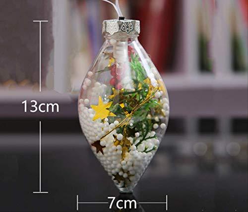 CHANGLEQIN Adorno de Navidad Bola de plástico transparente colgante de bola hueca tienda encanto