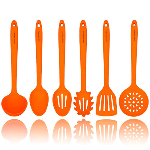 Orange Silicone Cooking Utensils Set – Large Size - Sturdy Steel Inner Core – Spatula, Mixing & Slotted Spoon, Ladle, Pasta Server, Drainer – Heat Resistant Kitchen Tools
