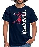 Joueur De Handball À L'Attaque T-Shirt Homme, L, Marine