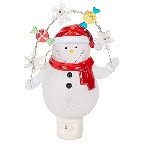 Snowman With Decorative Garland LED 7.75 Inch Acrylic Swivel Plug Bubble Night Light