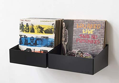 TEEbooks scaffale porta vinili in acciaio nero composto da 2 mensole (capienza 60 dischi)