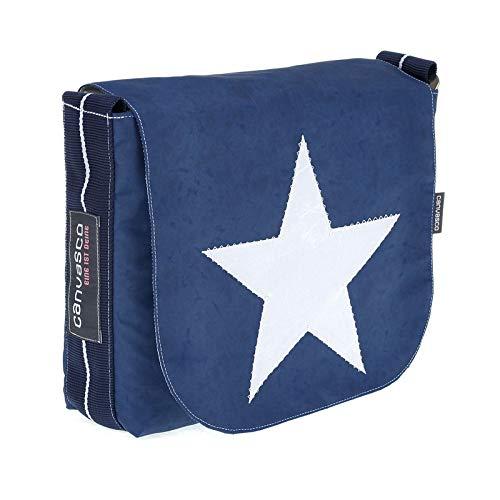 Messenger Bag CANVASCO Mini/Tasche blau/Gurt blau-weiß/Motiv Stern weiß